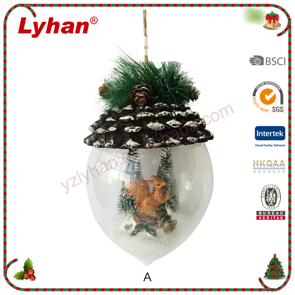 Lyhan glass dome with ornament and LED inside for 2017 Christma decoration