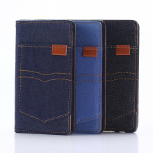 New Jean Cloth leather wallet phone case for Sony Xperia Z5 mini
