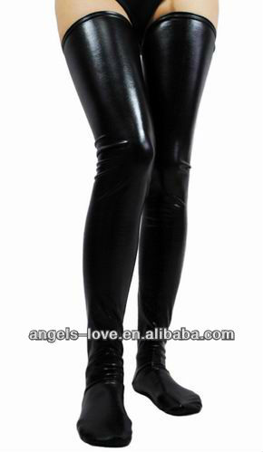 Black Faux Leather WetLook Vinyl Fetish Stockings A5198-1