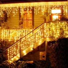 Christmas Lights Outdoor Decoration 4-5m Droop 0.4-0.8m Led Curtain Icicle String Lights Garden Xmas Party Decorative Lights