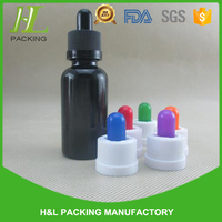High quality solid color glass bottle with childproof cap, 30 ml glass e-juice bottles black