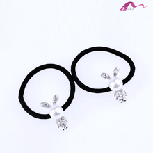 Wholesale Cute Korean Style Girls&Kids Big Pearl Rabbits Decorative Crystal Stone Elastic Hair Band Hair Rubber Rope Ornaments