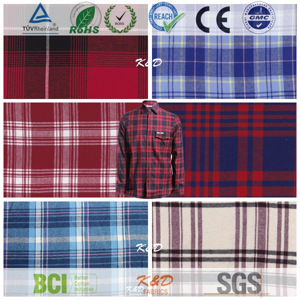 polyester cotton woven yarn dyed twill check brushed flannel fabrics