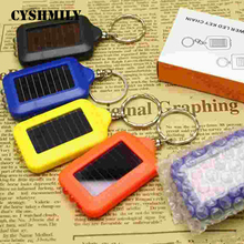 CYSHMILY Wholesale Energy Saving Rechargeable Powered 3 Leds Colorful Mini Keychain Solar Waterproof Flashlight