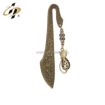 Custom made antique carve pattern metal bookmark for souvenir gifts