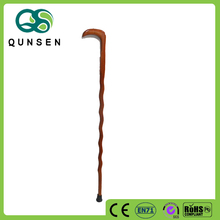 wholesale hand caved wooden hook walking stick