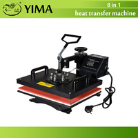 Free ship by DHL 1pcs 8 In 1 Combo Heat Transfer Machine Sublimation/Heat Press Machine For Plate/Mug/Cap/TShirt /Phone case
