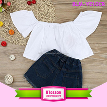 Fashion Children Loose Blouse T Shirts Stylish Girls Off The Shoulder Cotton Crop Top Wholesale Baby Off Shoulder Tops