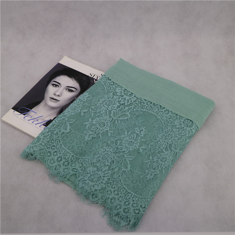 Luxury Embroidery Lace Scarf Pure Color Long Shawls Wrap Muslim Women Hijab