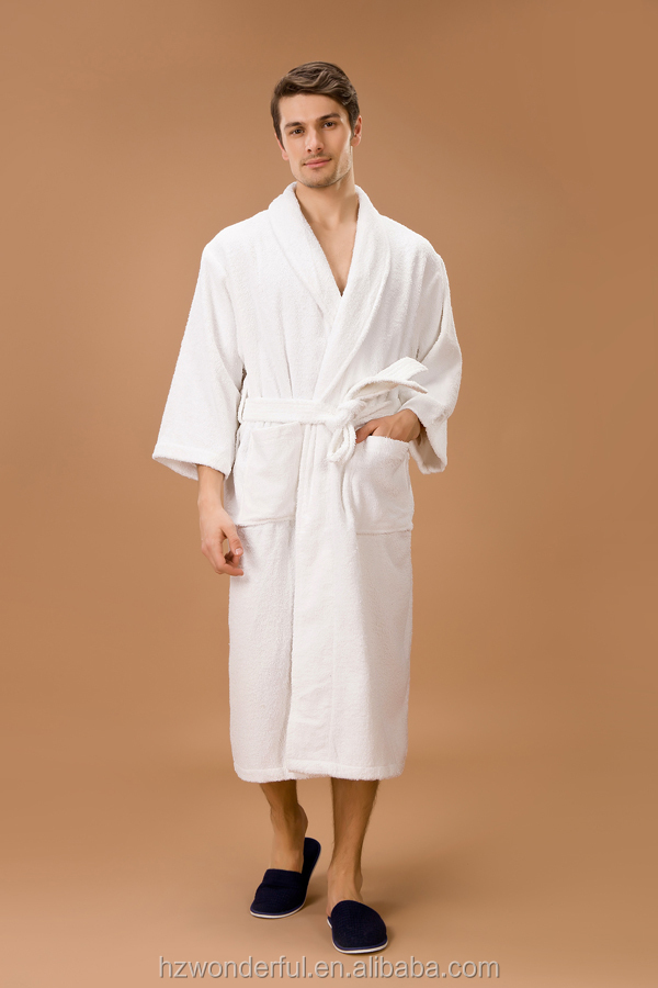 white shawl collar terry towel night dresses contain 100% cotton for men