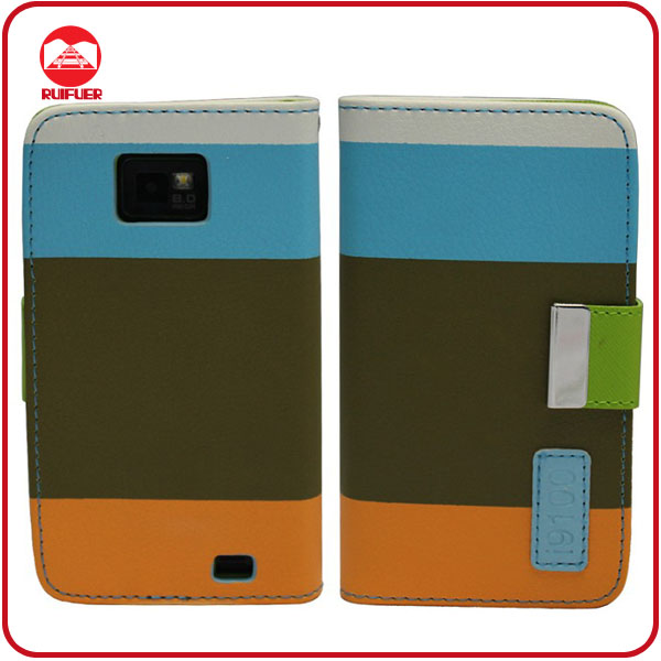 Hot Sale 3 Colors Hybrid With Card Slots Smart Pouch Leather Case for Samsung Galaxy S2