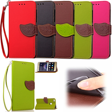 Hot selling flip wallet leather case with 2 business card holder splicing phone stand cover for Huawei P8 lite case