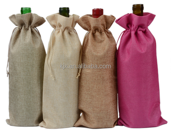 Jute Drawstring Sealing Handle Bottle Wine Gift Bag for Promotion