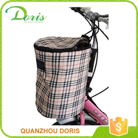 Check pattern front tube pet basket bicycle bag