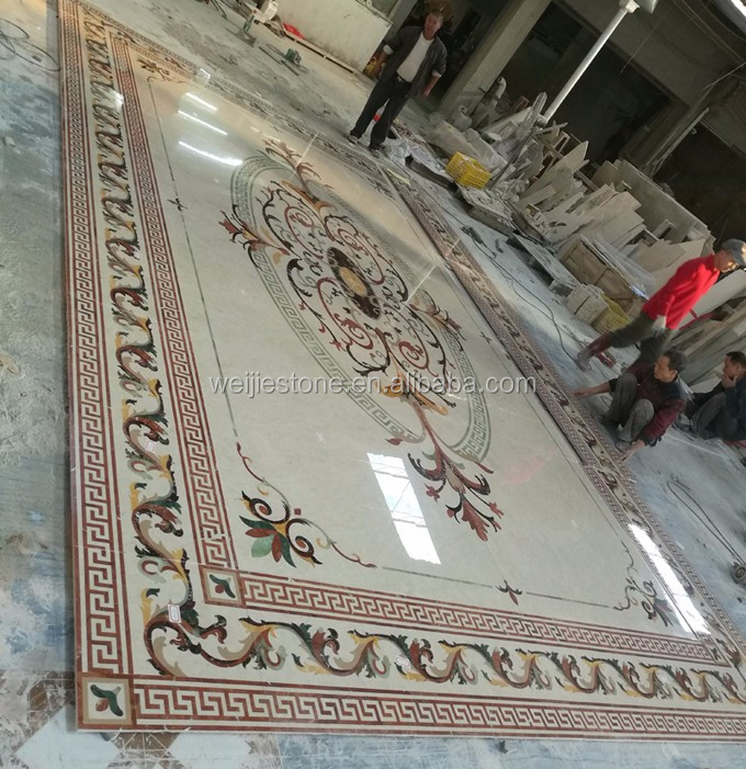 Rectangle natural marble floral pattern wall to wall for Floral pattern wall to wall carpet