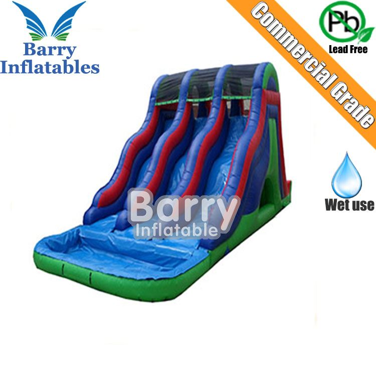 0.55mm PVC 18FT inflatable triple lane wet water slide with pool