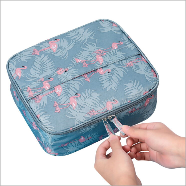 14 Patterns brush pouch flamingo square makeup bag <strong>cosmetic</strong>