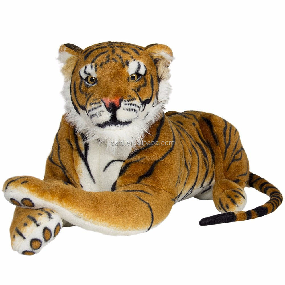 Tiger Plush Animal Realistic Big Cat Orange Bengal Soft Stuffed Toy Pillow Orange Large