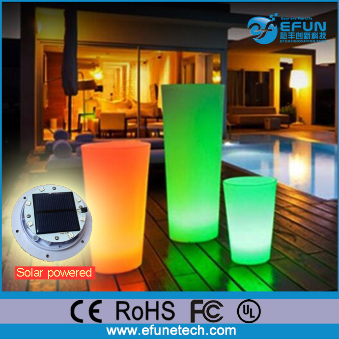 RGB color changing mood light decorating solar powered led flower pot outdoor