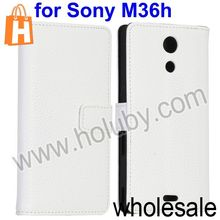 Lichee Pattern Wallet Stand Flip Leather Case for Sony M36h C5502 Xperia ZR with Card Slot(White)