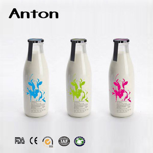 1000ml 1 liter 1L empty glass milk water bottle with metal lug lids