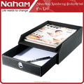 NAHAM office desktop leather organizer file letter tray with drawer