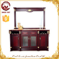 Oem/Odm high gloss mirror top teak wood cupboard designs for kitchen/ living room storage