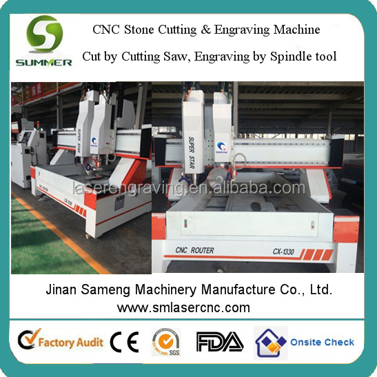 CX1330 5cm granite cutting with strong power cutting saw 4.5kw water cooling spindle granite machine for cutting and engraving