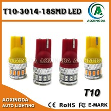 white red yellow light 18SMD 3014 t10 led lights