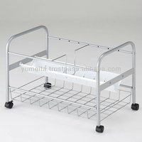 Japanese Metal Office Supply 1-Shelf Simple Storage Rack Cart