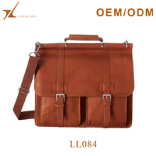 Wholesale custom good quality messenger bag genuine leather briefcase