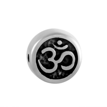 Custom chakra european style large hole metal OM beads charms round antique silver yoga OM bracelet charms (PP-010)