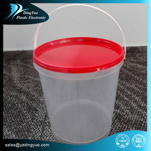 2.5L Plastic Round Bucket/Pail with Red Lid
