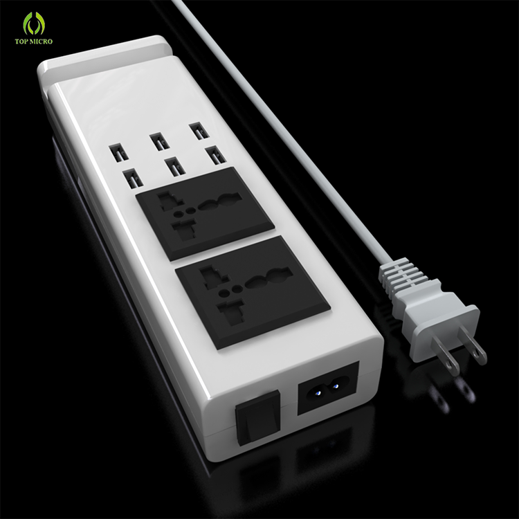Newest Multi Cell Phone Charging Adapter US EU UK Dual AC Socket+6 USB Charger Station