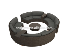 outdoor rattan garden furniture round sofa set lounge sofa curved