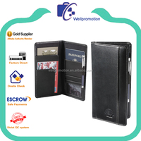 Black pu leather ticket travel wallet with passport holder