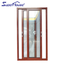 Factory supply interior kitchen use wood color aluminum toughened glass sliding door