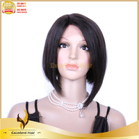 New Fashion In Stock Cheap 120% Density Brazilian Virgin Human Hair Silky Straight Short Bob Lace Front Wig For Women