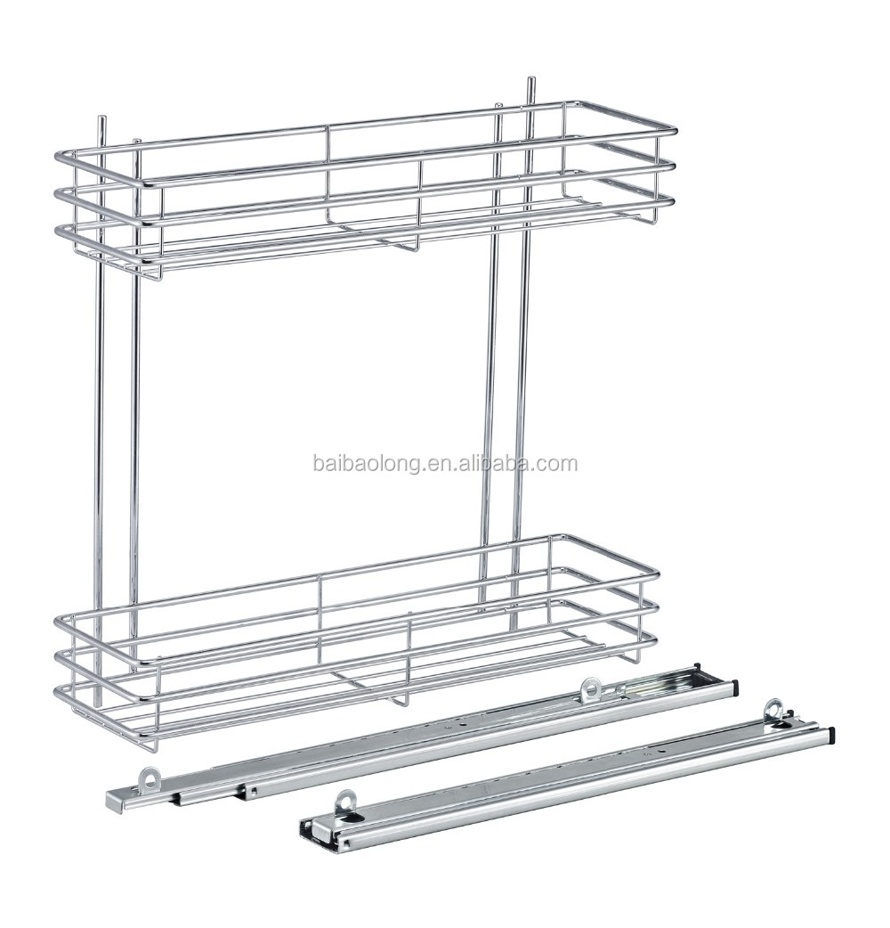 Side pull out basket Wire style two layers kitchen cabinet organization