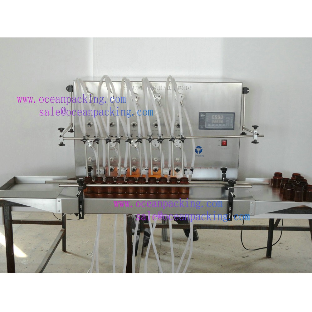 small scale 10heads glass bottle filling machine