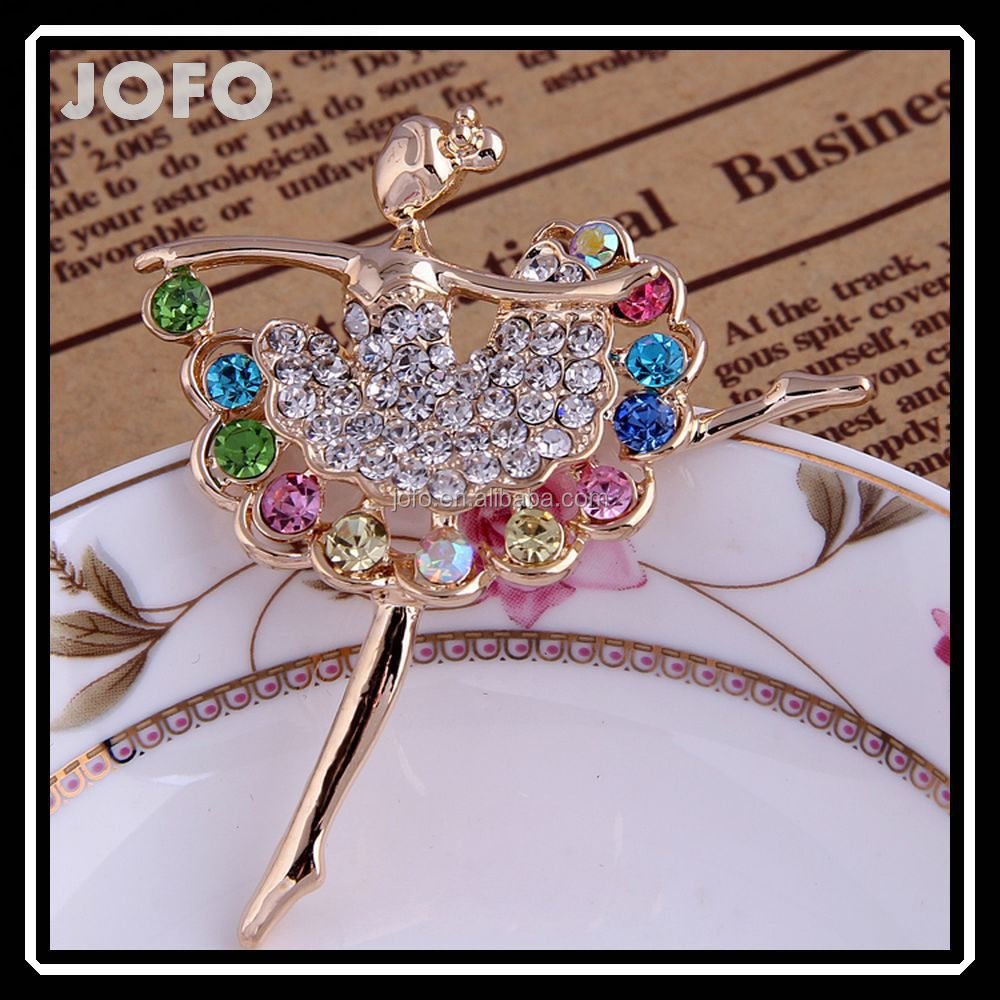 In Bulk Grace Colorful Crystal Dancing Ballet Girl Brooch Jewelry For Dress DRJ0216