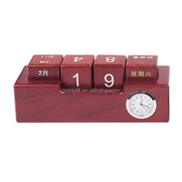 with calendar antique style wooden clock