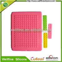 Blocks pink silicone laptop case for smart i*Pad 2