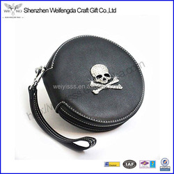 2015 Cool Handmade Car DVD Bag Holder Leather CD Storage Round Case
