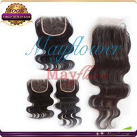 "China Alibaba 10"" 4x4 Brazilian body wave hair lace closure front hair pieces free parting topper"