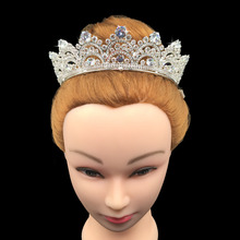 Echsio Hair Accessories Sparkling Cubic Zirconia Big Wedding <strong>Crown</strong> Crystal Tiara Bridal Brass <strong>Crown</strong> Party Prom BC3435