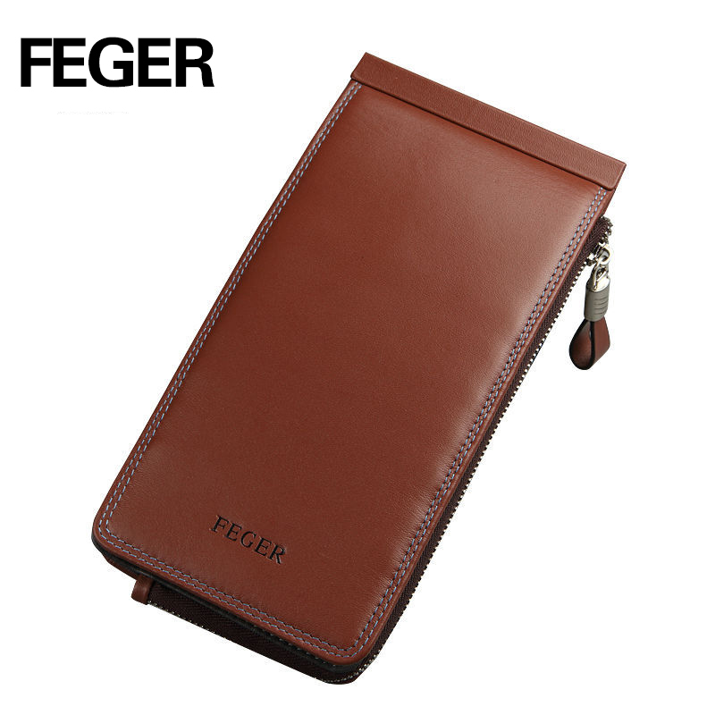 FEGER purses brown genuine leather credit card holder multiple wallet