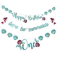UMISS Paper Blue Mermaid Happy Birthday Bunting Banner Decoration for Birthday Party Supplies paper garland