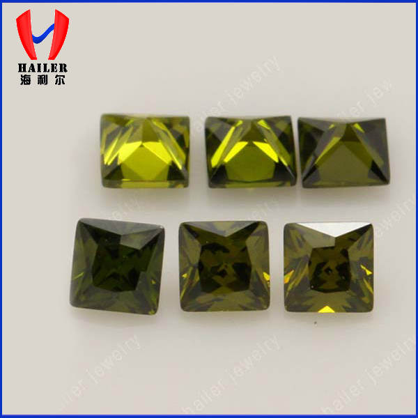 princess cut peridot cubic zirconia loose gemstone
