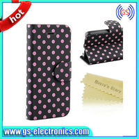 Polka Dot Pattern Leather Wallet Case For Mobile Phone Case